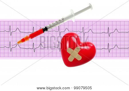 Heart And And Syringe Over Electrocardiogram Graph On White Background