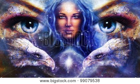 Goddess Woman in space with light stars and eagles head, eyes women. Eye contact, Abstract color bac