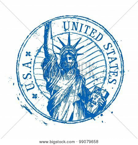 USA vector logo design template. United States or statue of liberty, New York icon