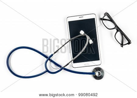 Stethoscope And Glasses With Tablet, Touch Screen
