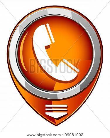 Telephone Receiver Vector Orange Pointer
