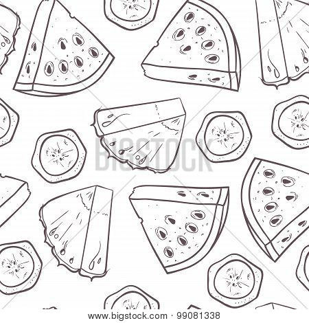 Hand Drawn Outline Seamless Pattern With Pineapple Banana And Watermelon Slices. Fruit Background