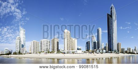 Panorama view of Surfers Paradise beachfront, Gold Coast
