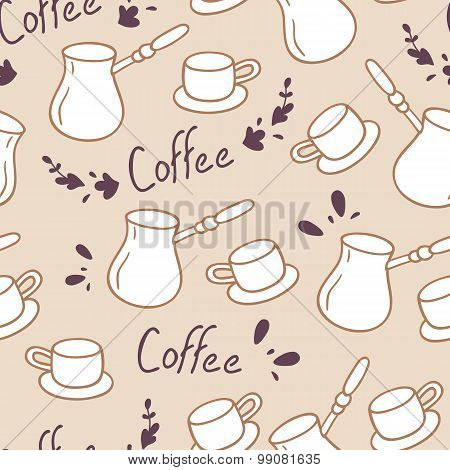 Doodle Coffee Seamless Pattern With Lettering.hand Drawn Backgrond