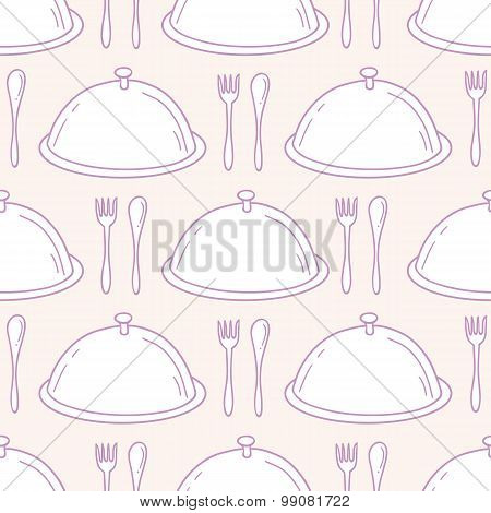 Seamless Pattern With Hand Drawn Serve Dish. Kitchen Background