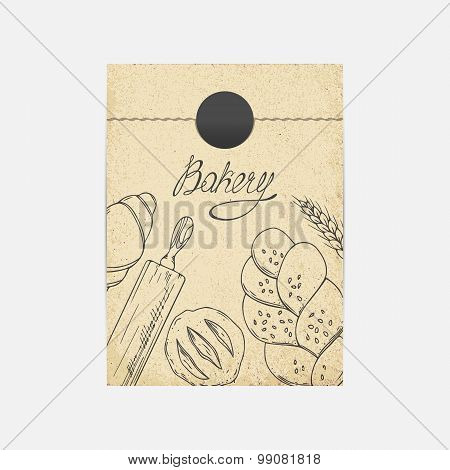 Kraft Paper Takeaway Bag Mockup In Vector. Sketched Illustration With Baking