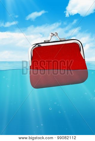 Floating Red Wallet At Ocean, Colorful Finance Concept