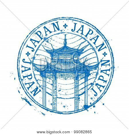 Japan vector logo design template. temple drawn in a simple sketch style