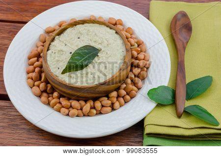 Peanut Chutney With A Spoon