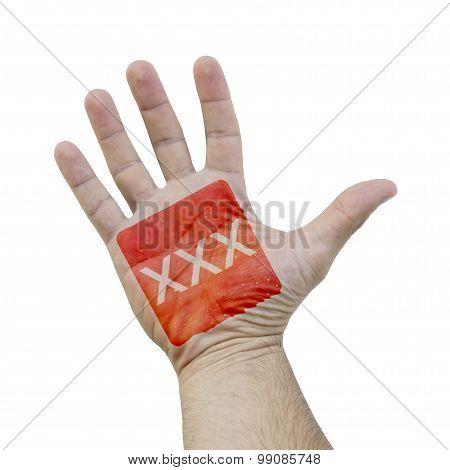 XXX sign on a hand