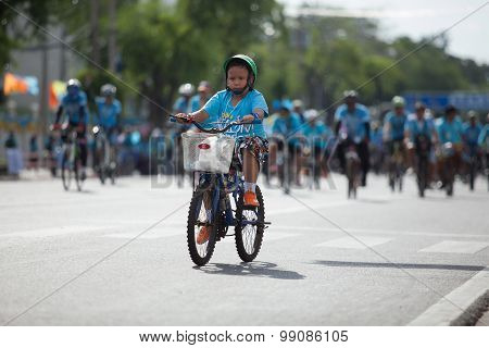 Bangkok Thailand : August16 : Thai Children Riding Bicycle  In
