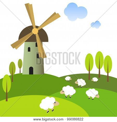 Windmill on peaceful meadow