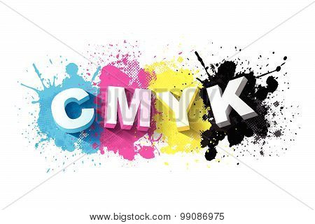 3d CMYK letters with paint splash background, Logo Symbol