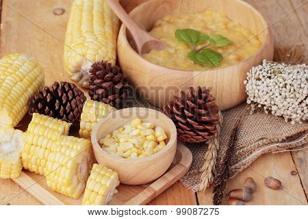 Corn Soup Of Condensed In A Wooden Bowl
