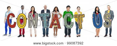 Multi-Ethnic Group of People Holding Text Contact Us