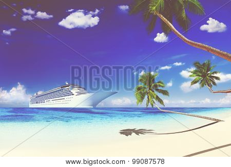 Cruise Beach Palm Tree Vacation Travel Holiday Concept