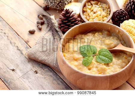 Corn Soup In A Wooden Bowl