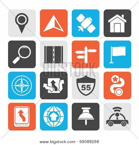 Silhouette Gps, navigation and road icons