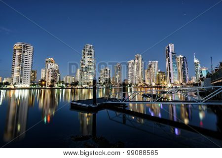 Reflection of Surfers Paradise apartments at sunset, Gold Coast Australia