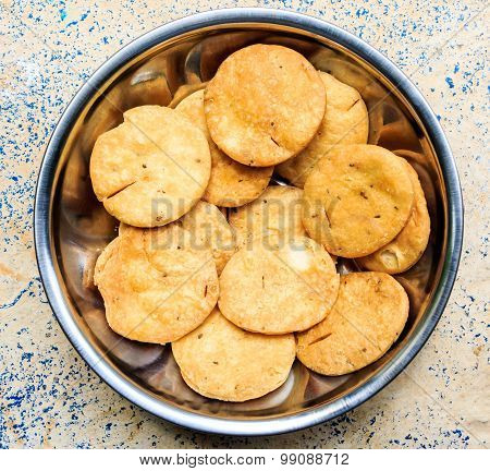 Namkeen ~ Freshly prepared Indian snacks / salt biscuits