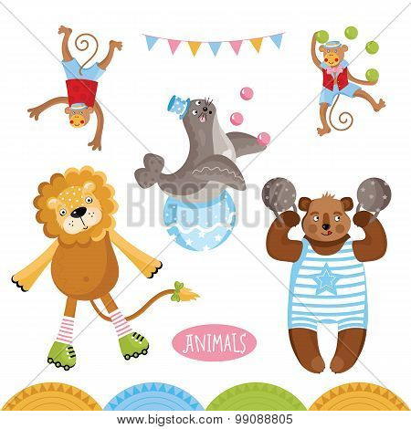 Cute circus animals on white background. Cartoon bear, lion and other animals. Vector circus animals. Circus animals set. Cartoon circus animals characters illustration. Funny Animals. Isolated circus animals. Differet vector animals.