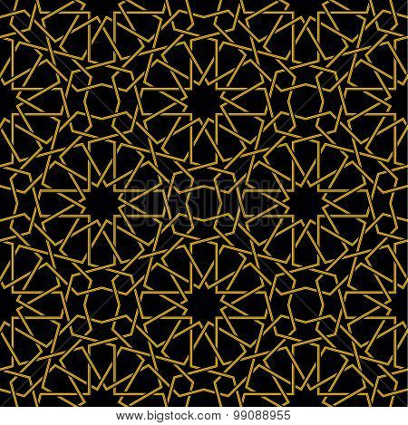 Golden line star pattern with black background in arabic style