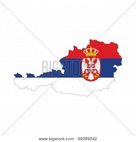 Map flag of Austria - Serbia. The Serbs in Austria