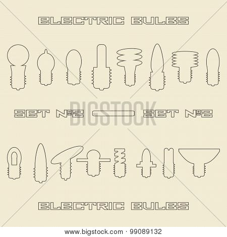 Different electric bulb types linear icon set. Design template  illustration.