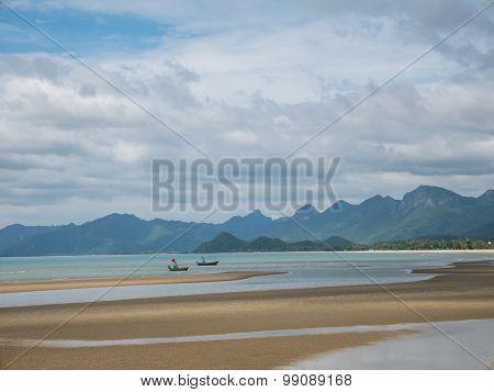 Beautiful Scene At Pran Buri Beach, Hua Hin, Prachuap, Thailand.