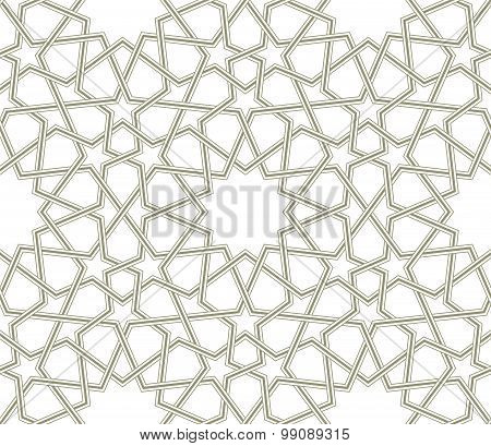 Islamic star pattern grey lines with white background
