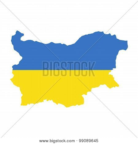 Map flag of Bulgaria - Ukraine. Ukrainians in Bulgaria