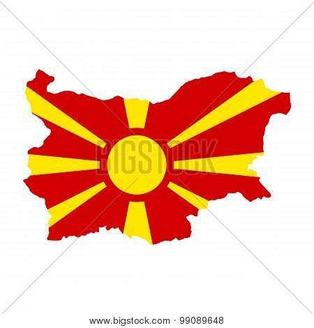 Map flag of Bulgaria - Macedonia. Macedonians in Bulgaria