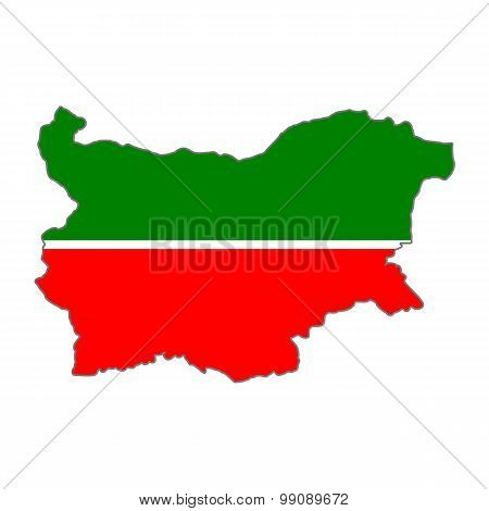 Map flag Bulgaria -Tatarstan. Tatars in Bulgaria
