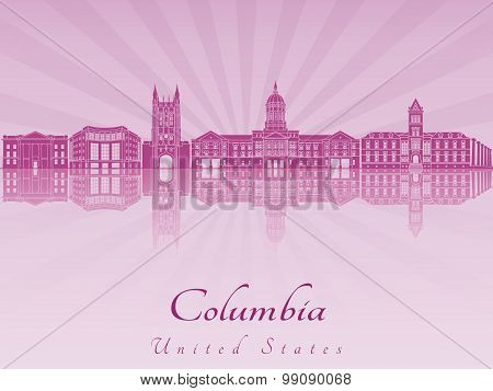 Columbia Mo Skyline In Purple Radiant Orchid