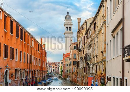 Canal and church at twilight in Venice, Italy