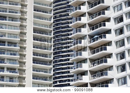 Building facades of highrise apartments in Broadbeach, Australia