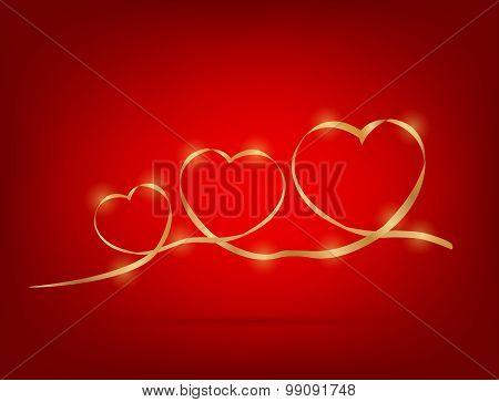 Ribbon In 3 Hearts Shape