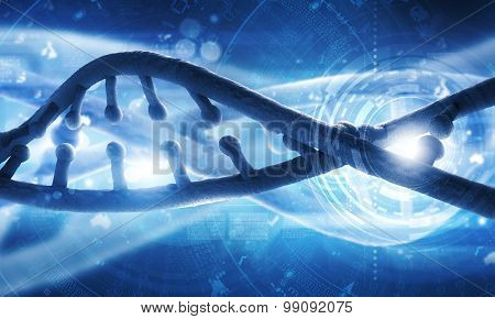 Biochemistry concept with digital blue DNA molecule