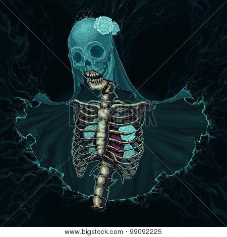Skeleton with veil and white roses. Vector horror illustration