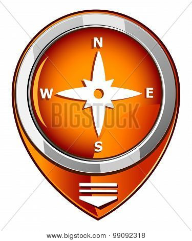 Compass Directions - Orange Pointer
