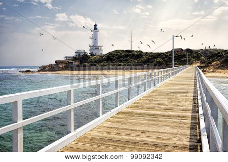 View of Point Lonsdale Lighthouse and jetty
