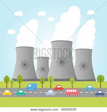 Nuclear Power Plants With Road And Cars