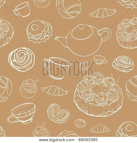 Seamless Vector Contour Pattern With Baking, Pastries, Cakes, Tea