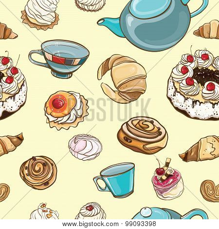Seamless Pattern With Baking, Pastries, Cakes, Tea