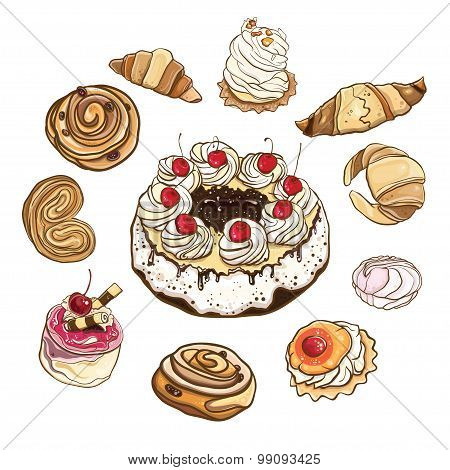 Set Of Sweet Buns And Cakes. Vector Illustration.