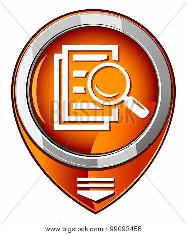 Magnifying Glass Round Orange Pointer - Search The Document.