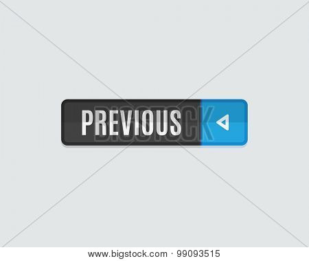 Previous web button, back. Modern flat design, paper graphic, website icon and design element