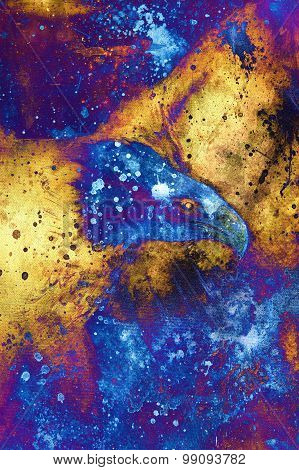 painting eagle on abstract background, wings to fly