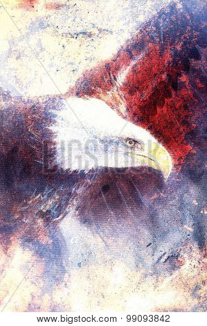 painting eagle on abstract background, wings to fly, USA Symbols Freedom. Vintage style picture