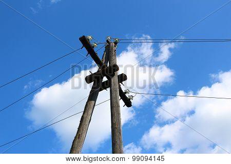 A pillar of power line